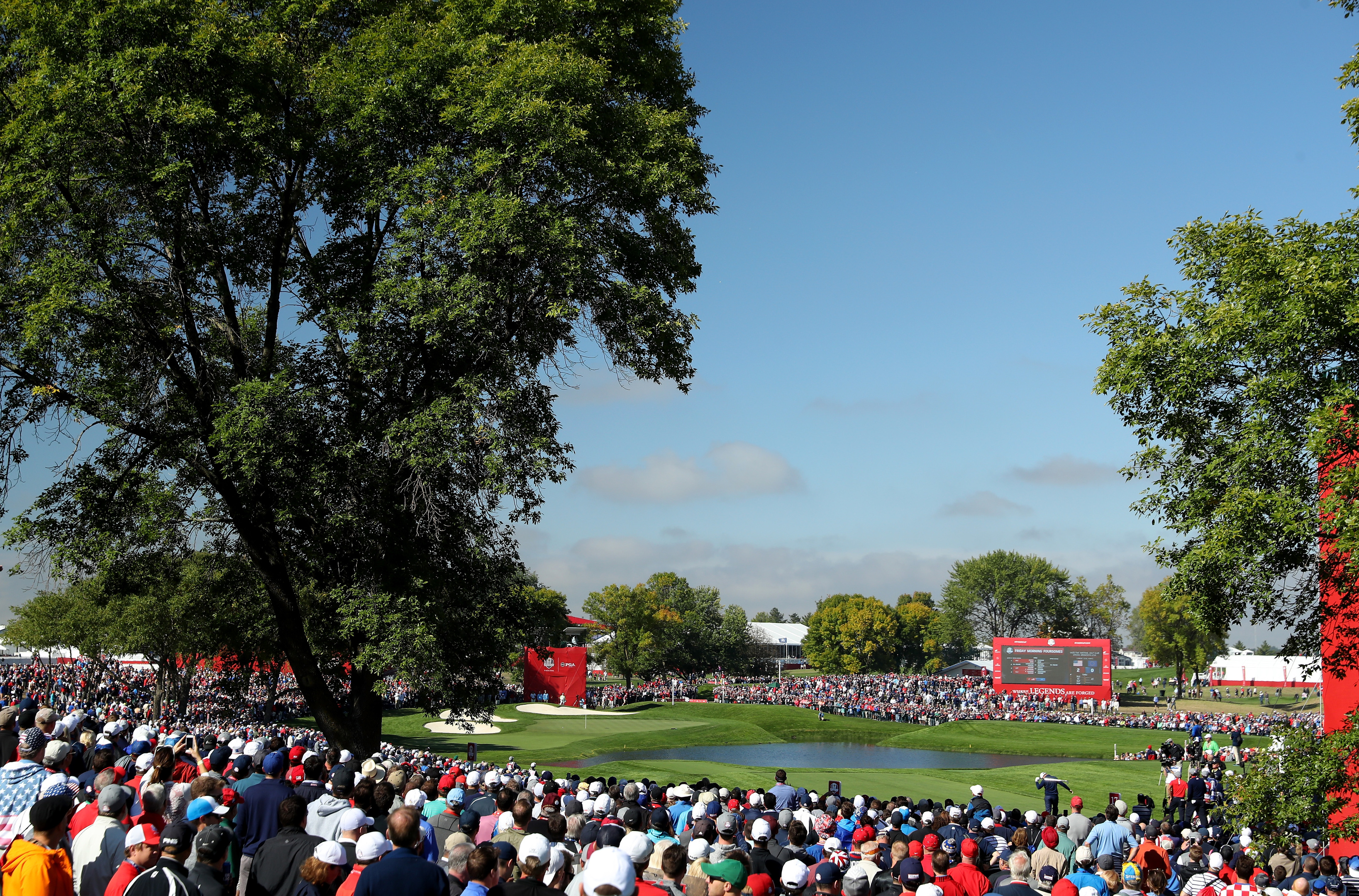 Huge crowds saw the USA dominate the opening morning of the 2016 Ryder Cup.