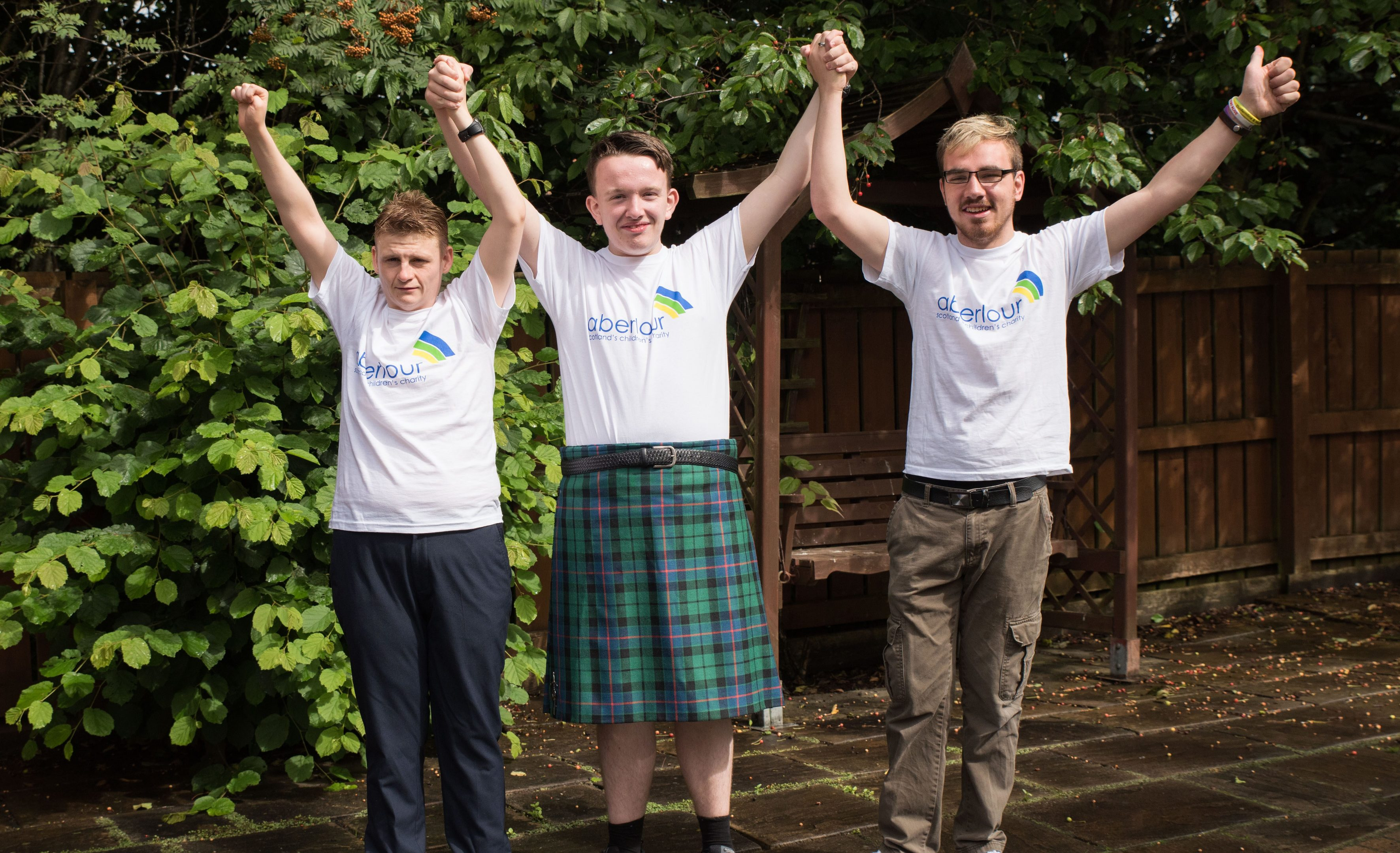 Brandon Anderson, Robert Morrison and Jamie Thomas raised cash for Aberlour by doing the Kiltwalk.
