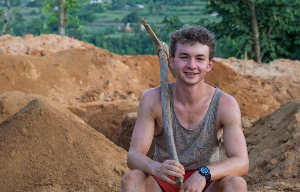 Angus hard at work helping the people of Nepal