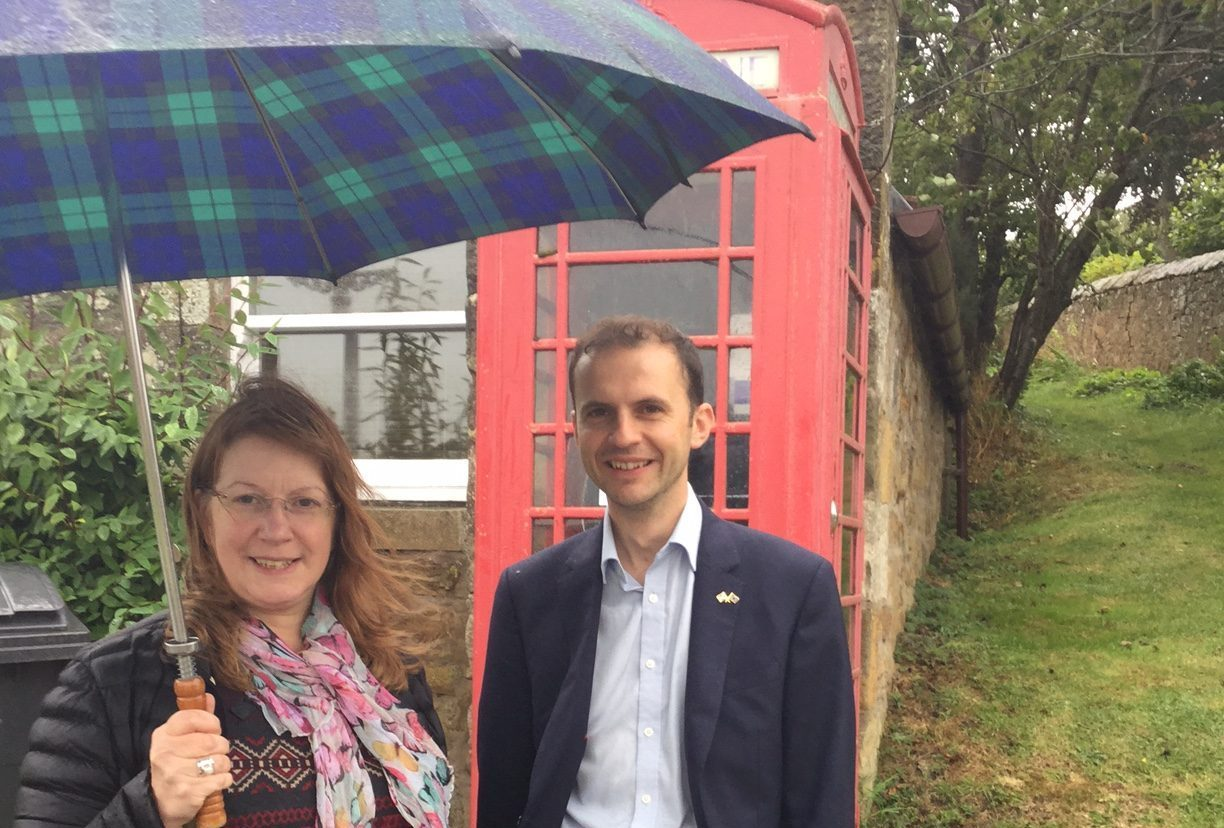 The removal of phone boxes is an issue across Scotland. Councillor Karen Marjoram and North East Fife MP Stephen Gethins are pictured at the Blebo Craigs phone box in Fife. Local residents are fighting for its retention.