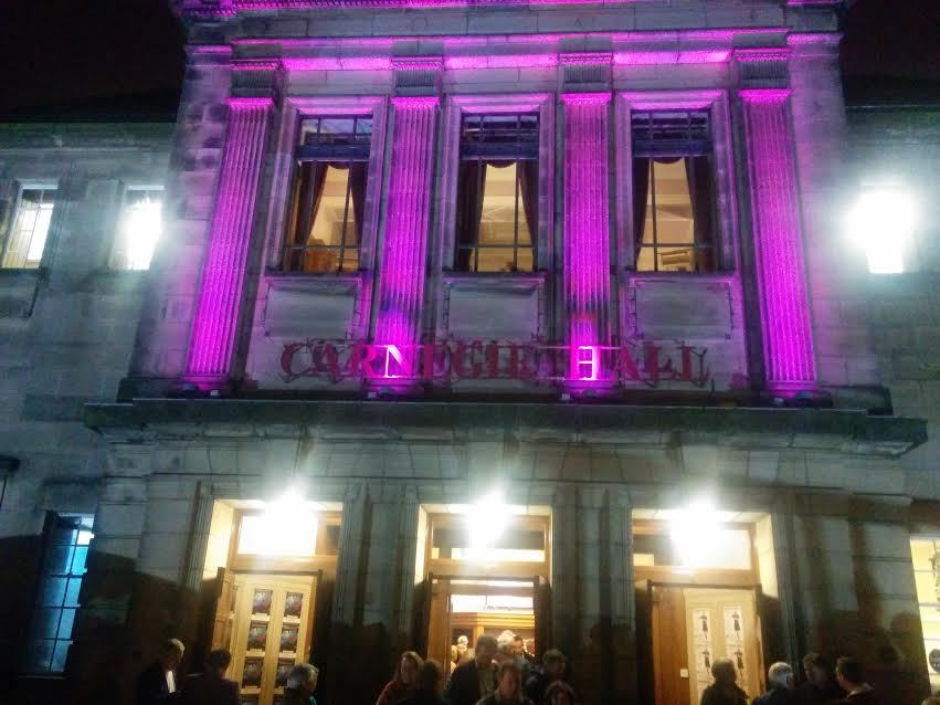 Crowds departing Dunfermline's Carnegie Hall