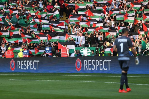 Celtic fans display Palestinian flags
