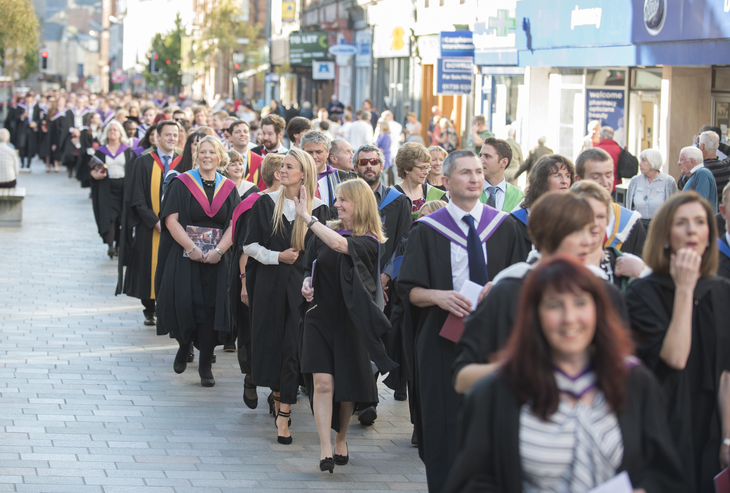 Last year's Perth academic procession marches  through the city.