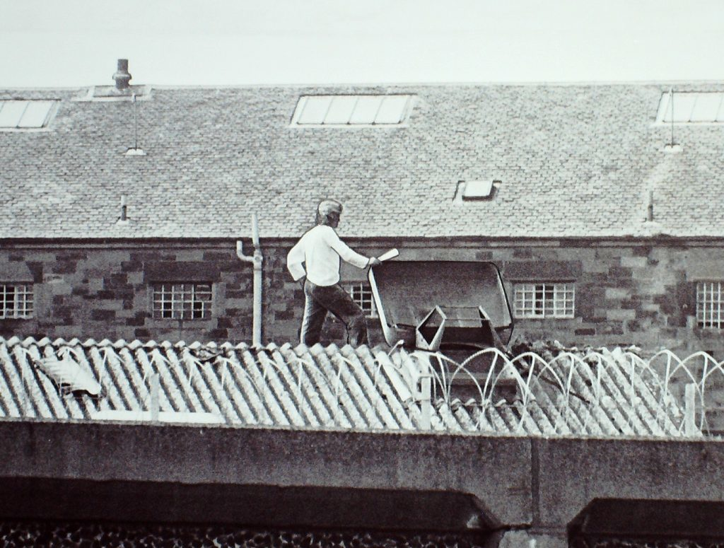 Robert Mone stages a rooftop protest at Perth Prison in 1981.