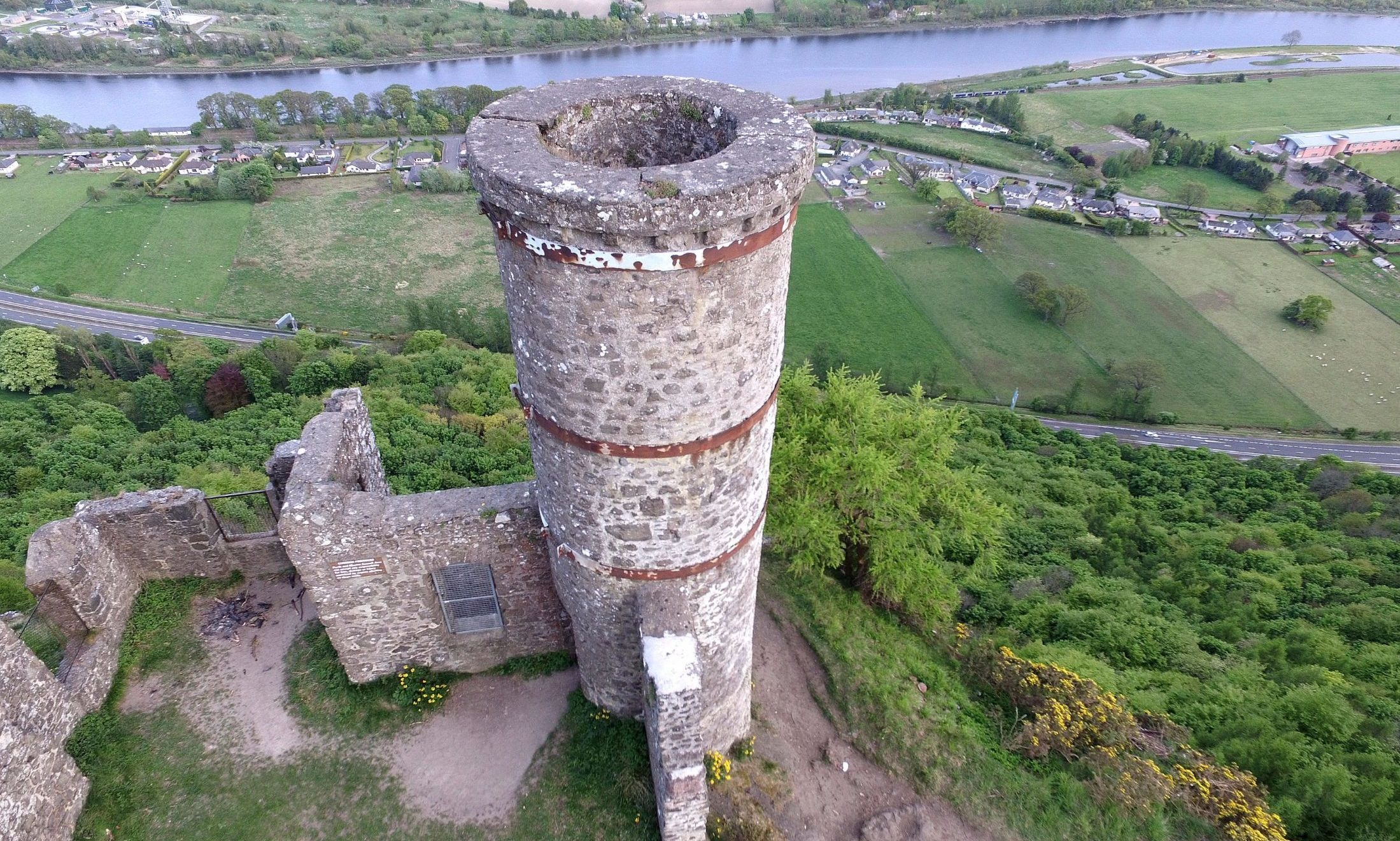Drone footage shows signs of damage at Kinnoull Hill Tower.