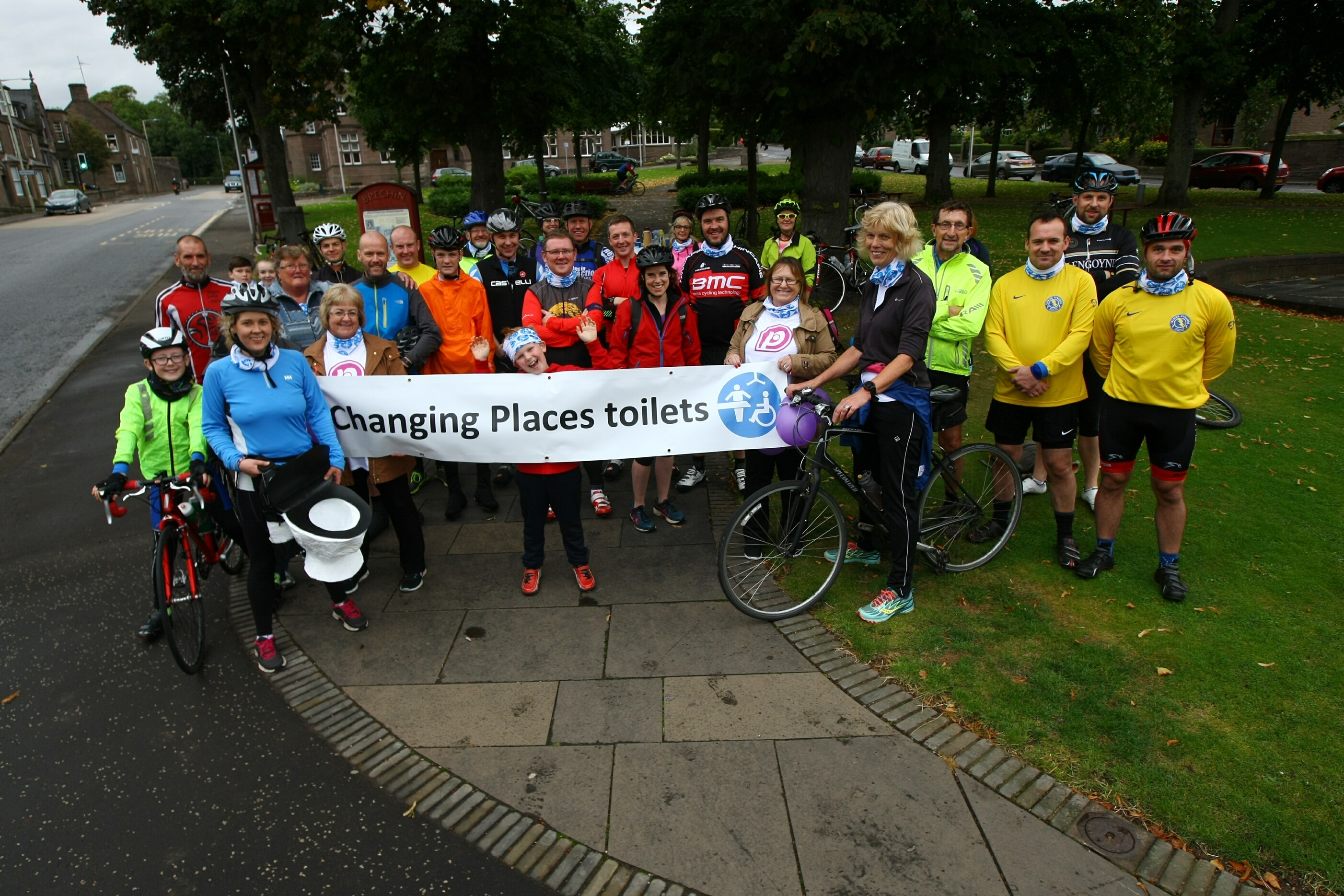 The participants grab a breather in Brechin on Saturday