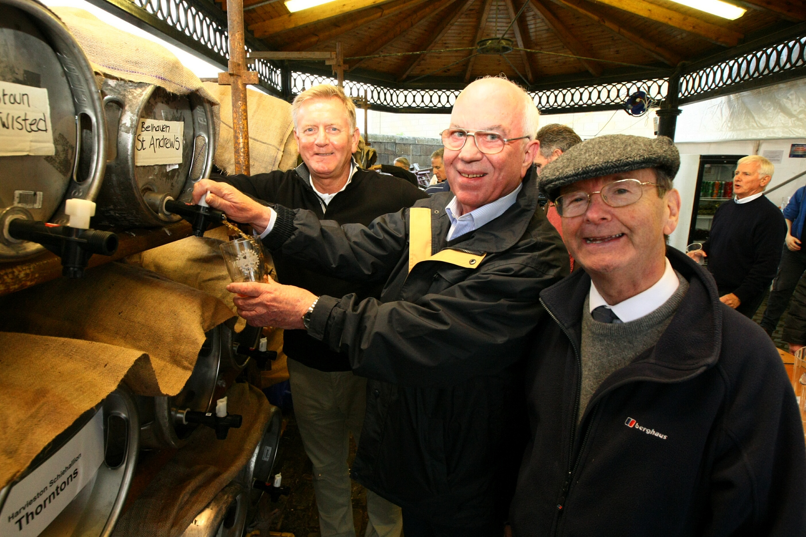 Robert Dundee, Dundee Rotary Club president Peter Leyland and Jonathan Stewart sample the beers.