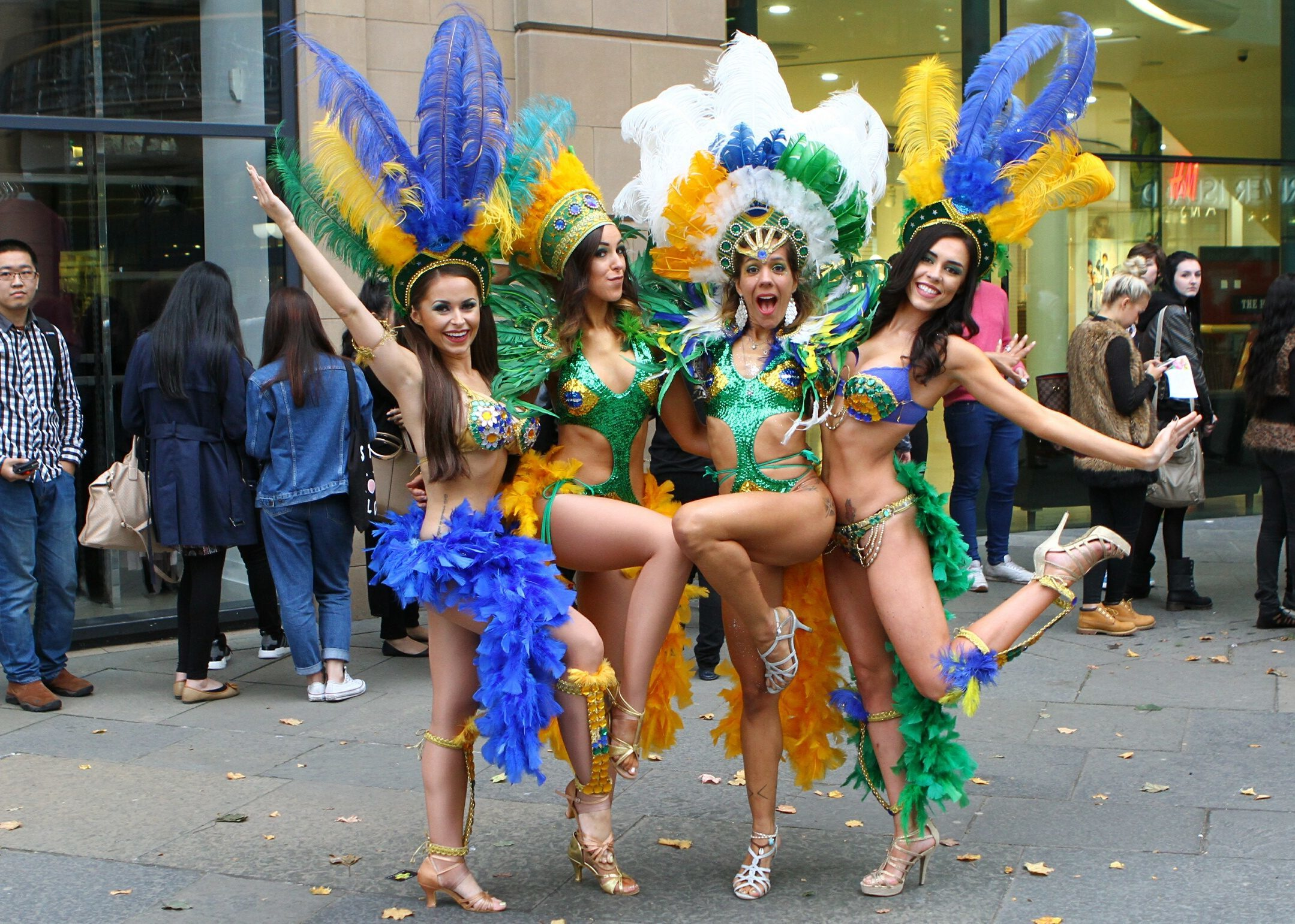 Members of Brazamba Samba outside  at the Student Shopping Night, at the Overgate Centre in Dundee.