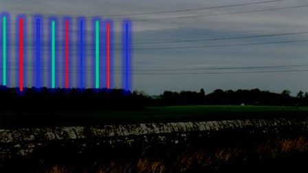 Recreation of the large columns of light seen coming from the woods near Newton of Falkland