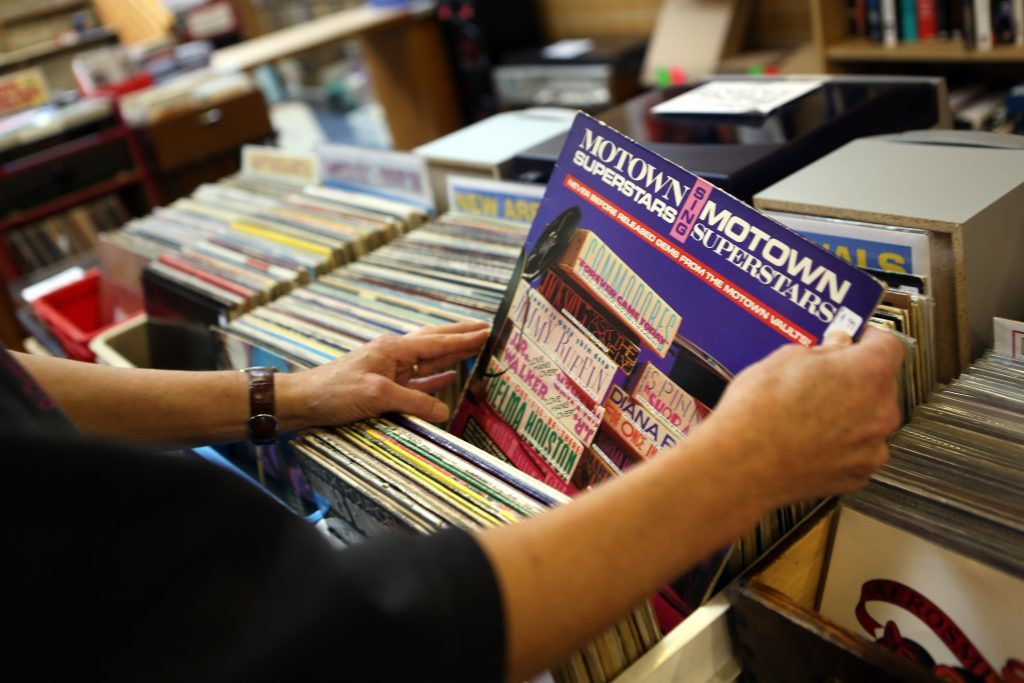Browsing records in Grouchos, Dundee