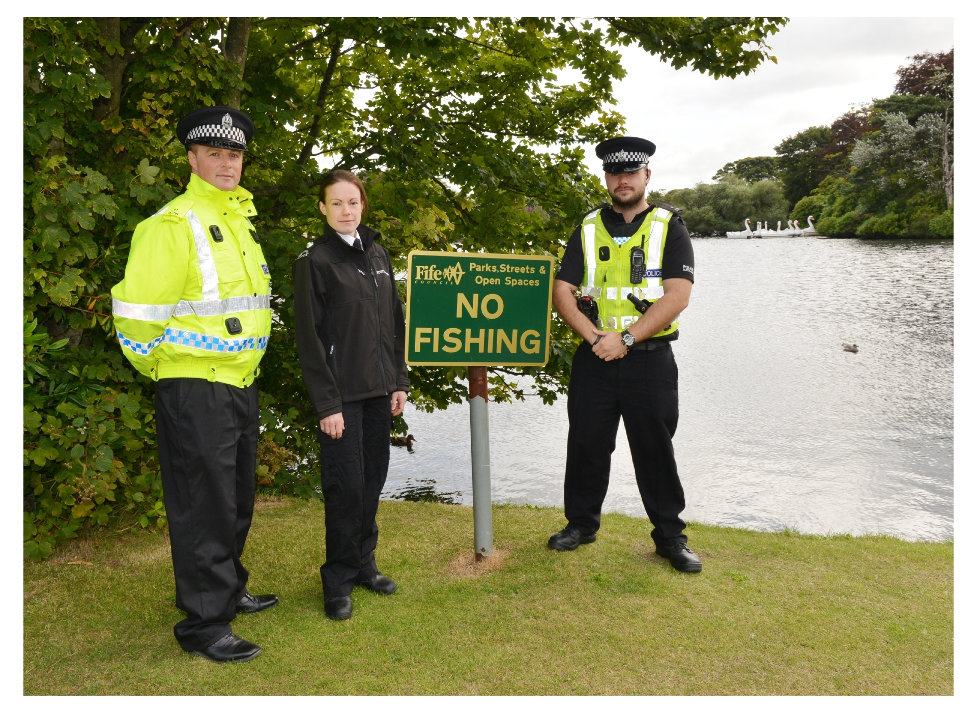 Police wildlife crime officer Lindsay Kerr with Inspector Sarah Gregory of the SSPCA, and PC Cameron Lee.
