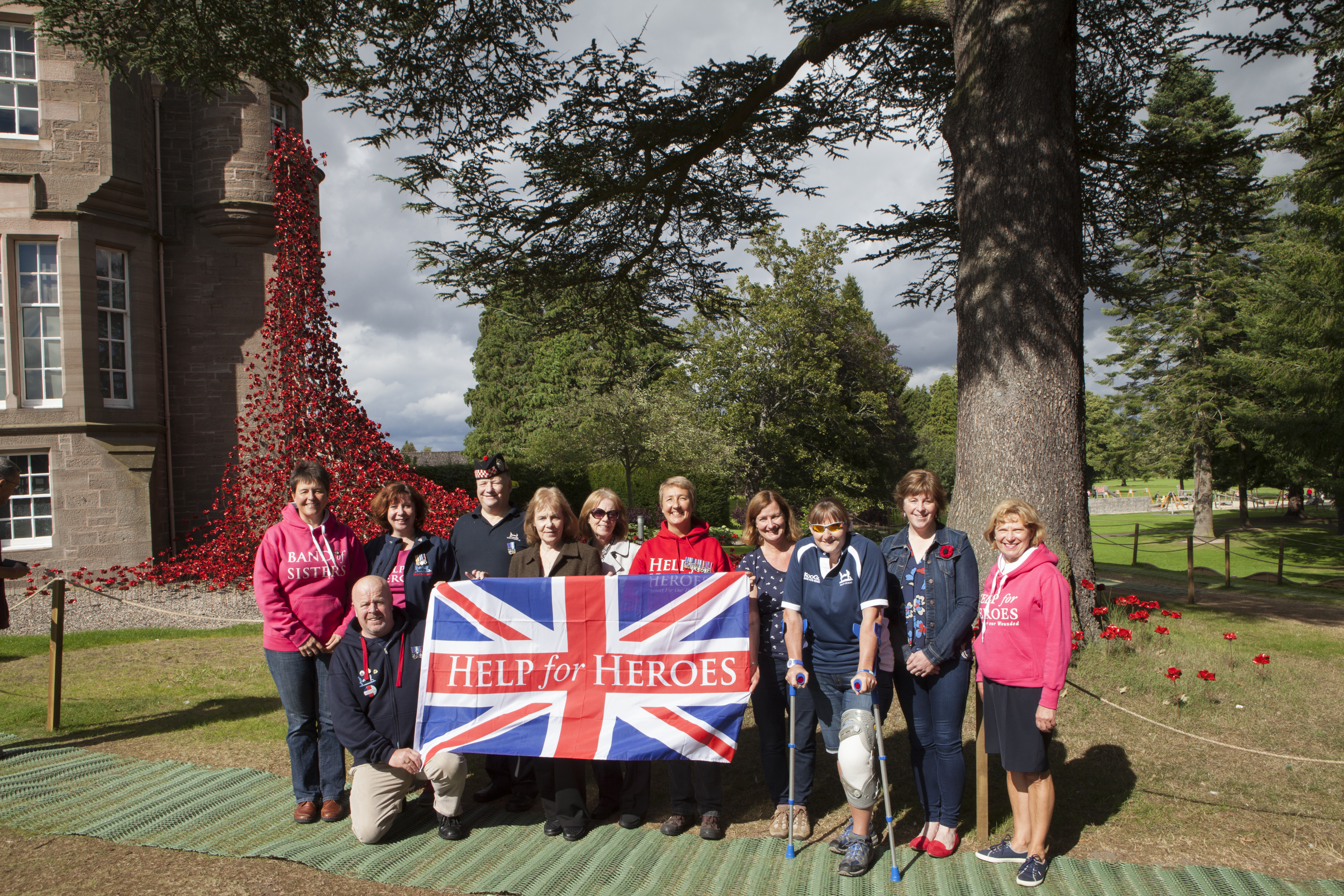 The Help for Heroes group who visited the weeping poppies display in Perth.