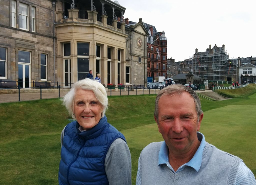 Clare Bowe and her husband waiting to tee off on the Old Course