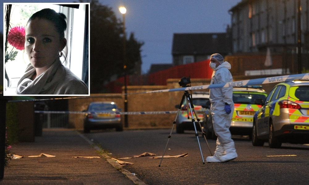 A forensic examination under way at the scene hours after the killing of Marie Low (inset).