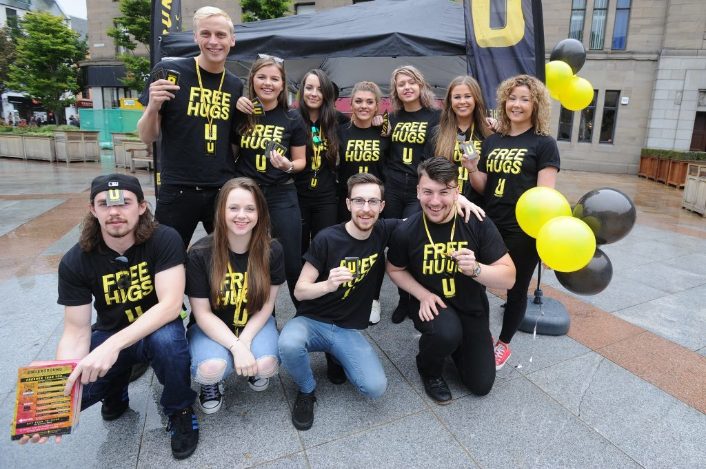 Courier News - Dundee - Dundee story - the University of Dundee gave a welcome in the Caird Hall to fresher students arriving to study in the city for the first time. Picture Shows; the team from the Underground who were welcoming students, City Square, Dundee, Monday 05 September 2016