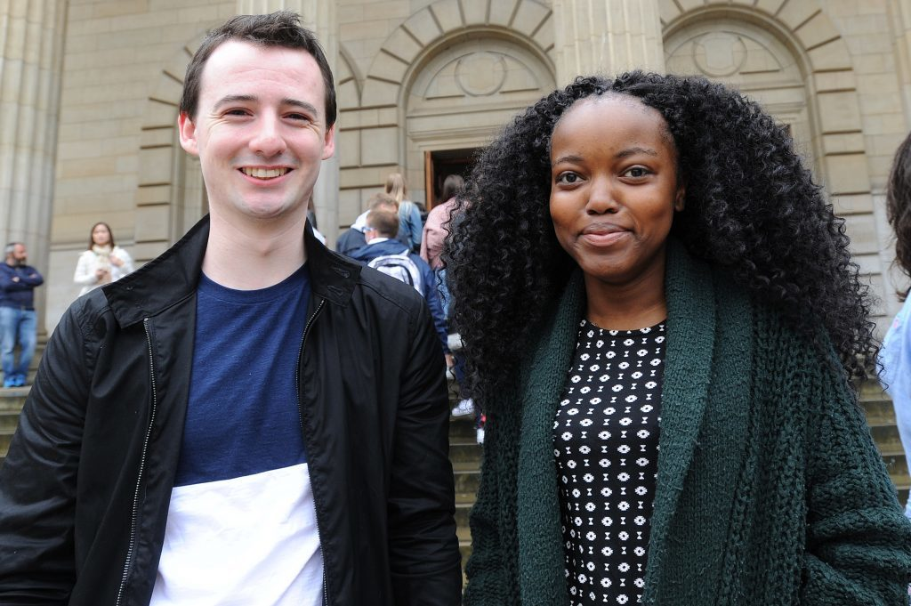 Courier News - Dundee - Dundee story - the University of Dundee gave a welcome in the Caird Hall to fresher students arriving to study in the city for the first time. Picture Shows; l to r - Harry Salisbury and Mukha Tshikhuda, City Square, Dundee, Monday 05 September 2016