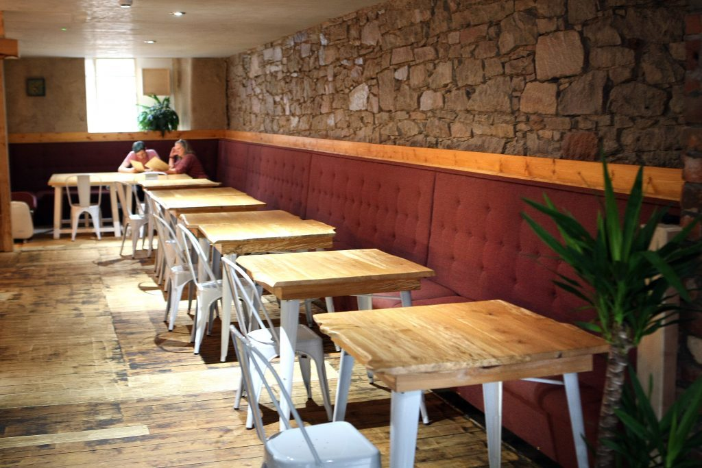 Courier News - Feature - Restaurant Review - Bach, Dundee. Picture shows; interior, exterior and Twice-cooked pork belly and Lamb kofta dishes for review of Bach, Exchange Court, Dundee, Monday 12 September 2016.