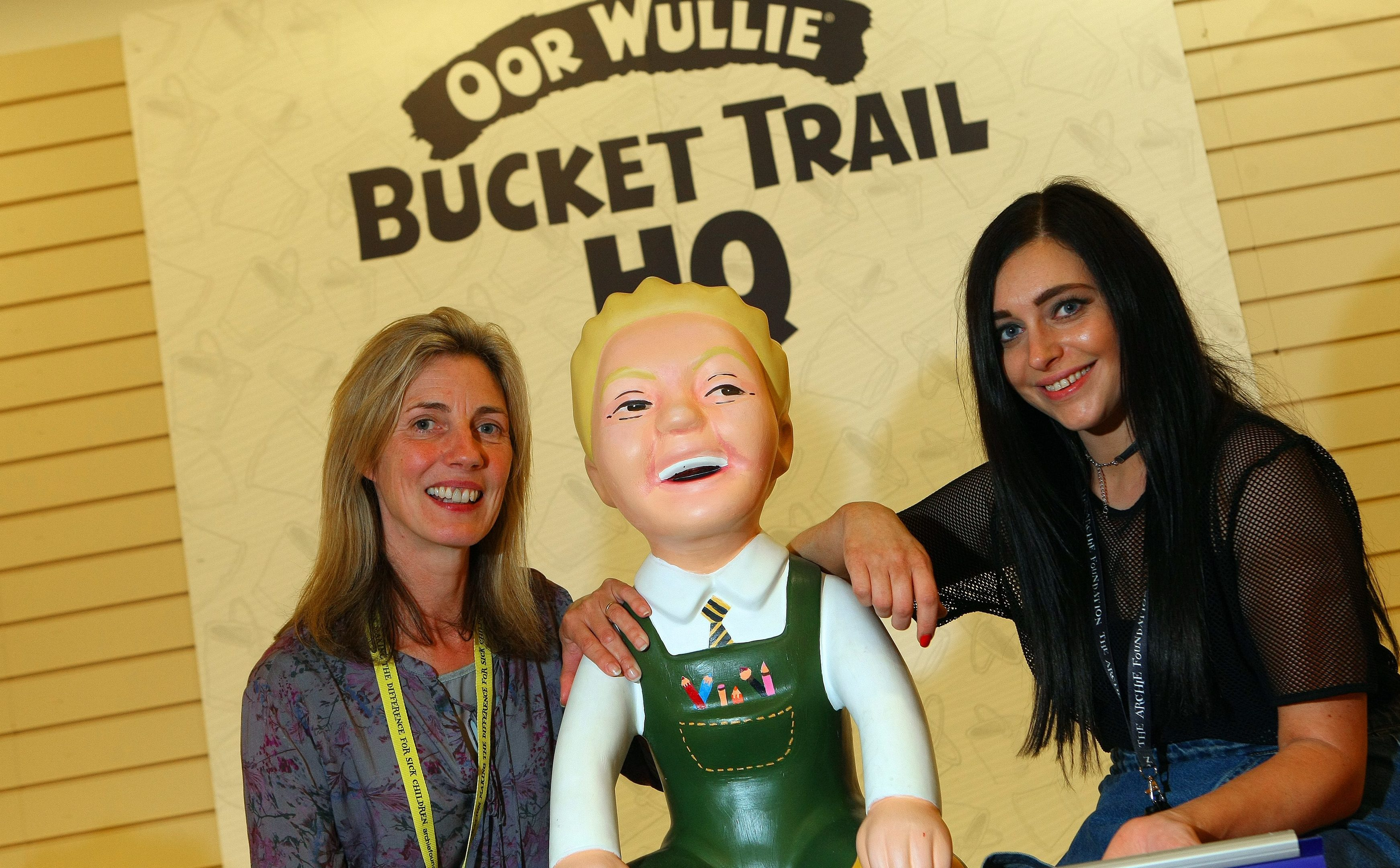 Volunteer Linda Meiklejohn and fundraising manager Hannah Clark at the Oor Wullie shop.