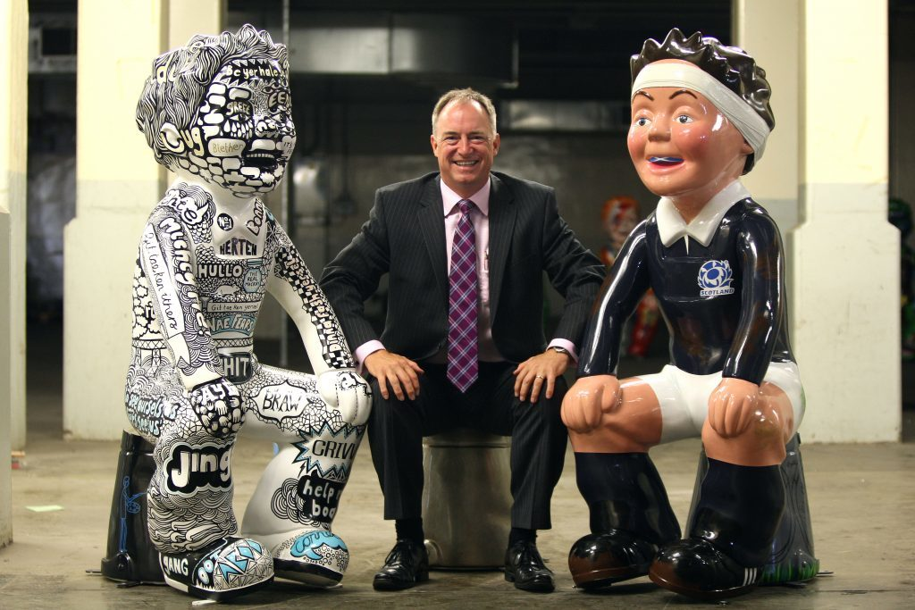 Andy Lothian, CEO Insights, with Oor Wai O' Spikin' and Rugby Wullie.
