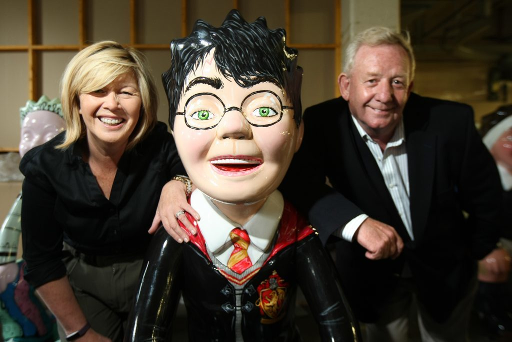 Phil and Lynda Mulholland, owners of Piperdam, with You're a Wizard Wullie.