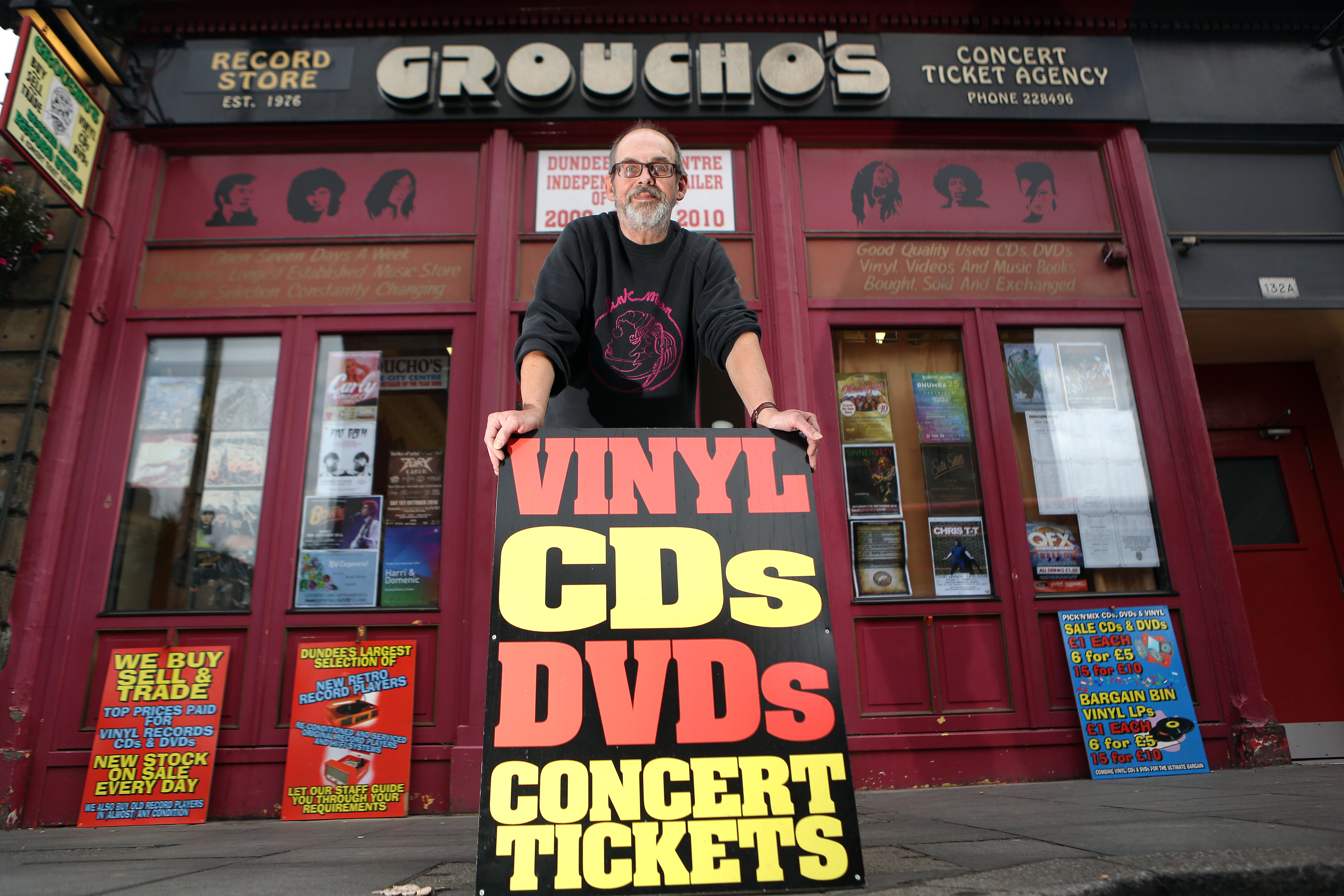 Alastair 'Breeks' Brodie of Groucho's record store in Dundee.
