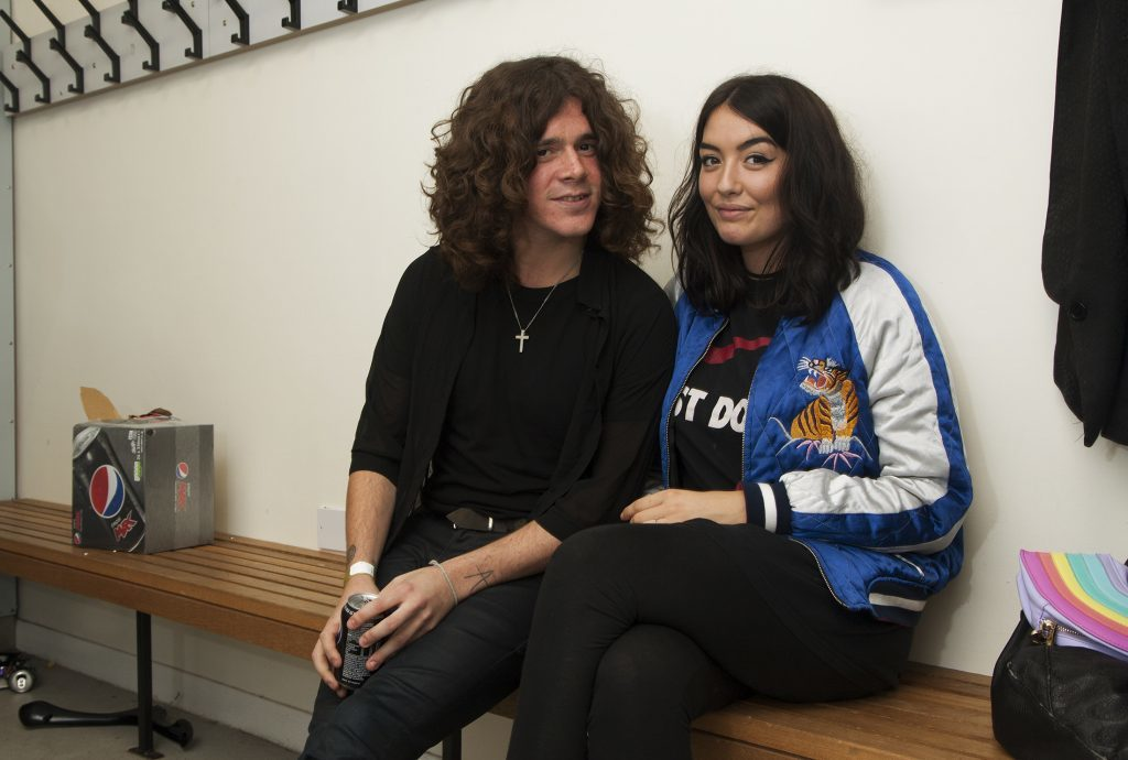 Kyle Falconer with his fiance Laura Fraser, pictured before the Montrose gig