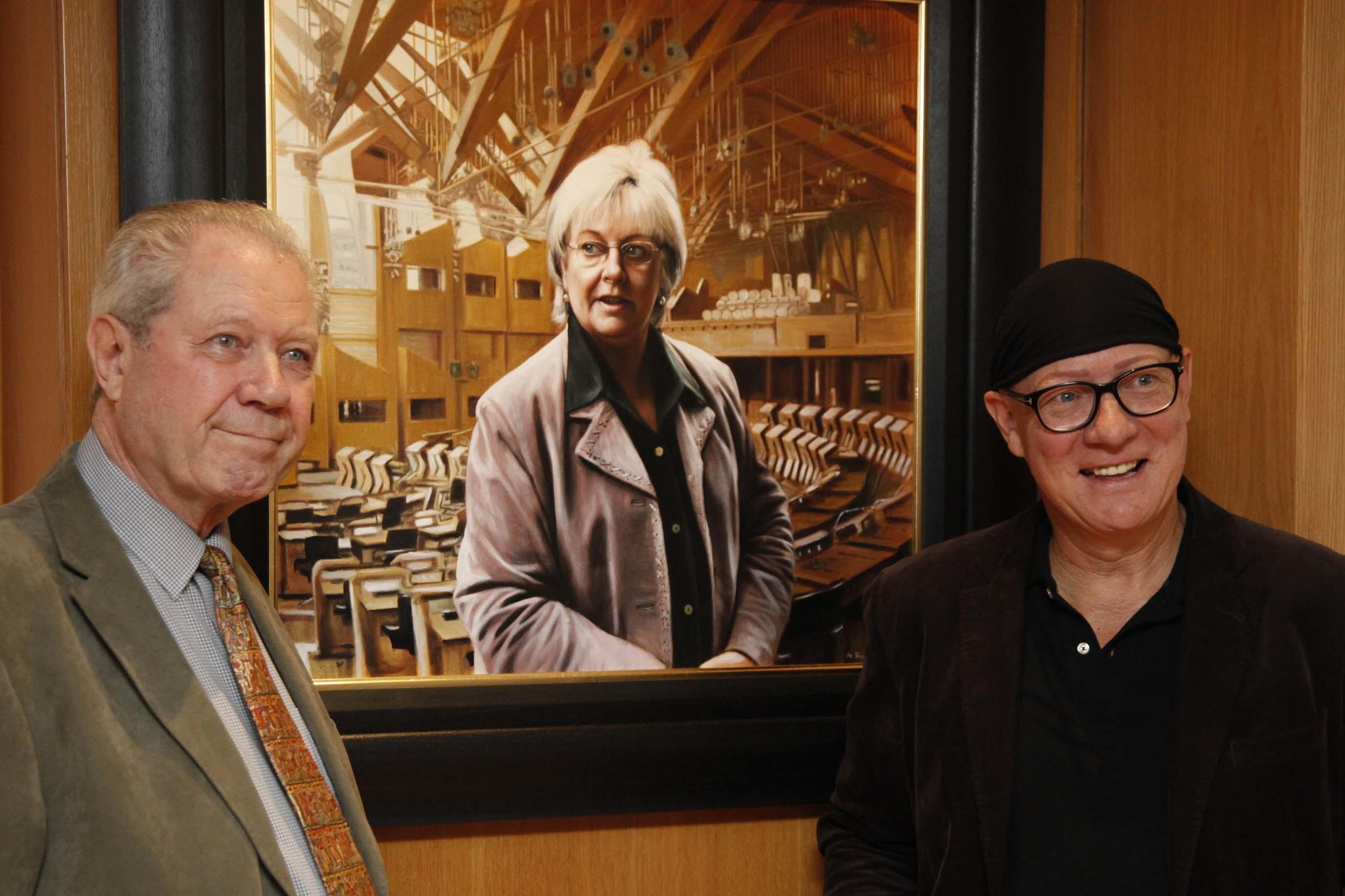 Artist Gerard Burns (right) with Margo MacDonald''s husband Jim Sillars.