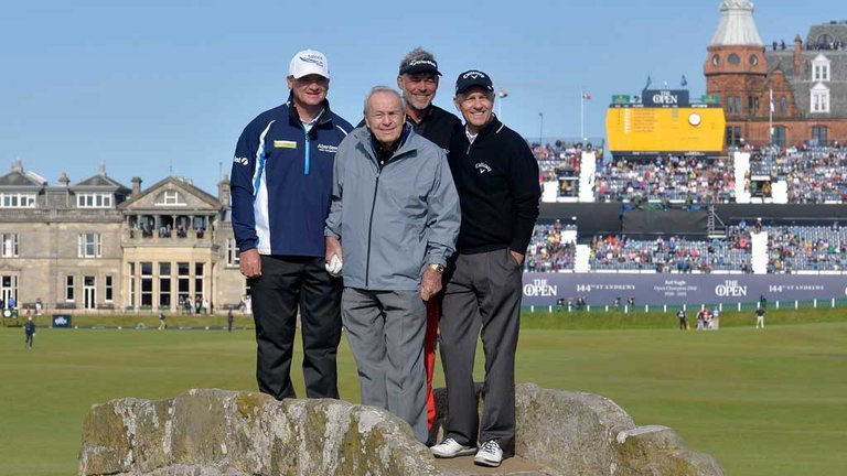 Left to right: Paul Lawrie, Arnold Palmer, Darren Clarke and Bill Rogers at the Champion Golfers' Challenge at St Andrews on July 15, 2015