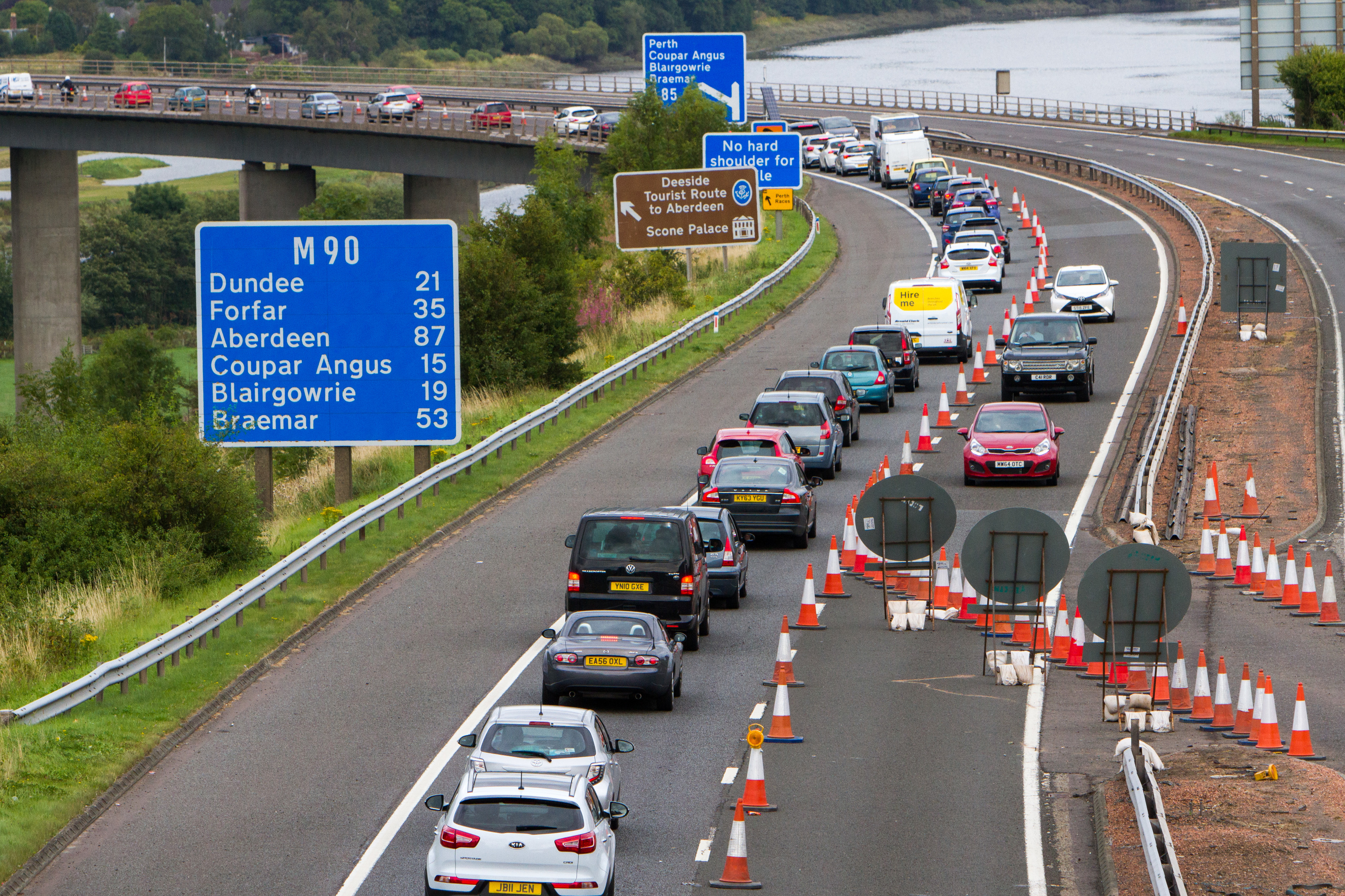 A long queue of traffic travelling northbound on the busy Friarton Bridge on Saturday.