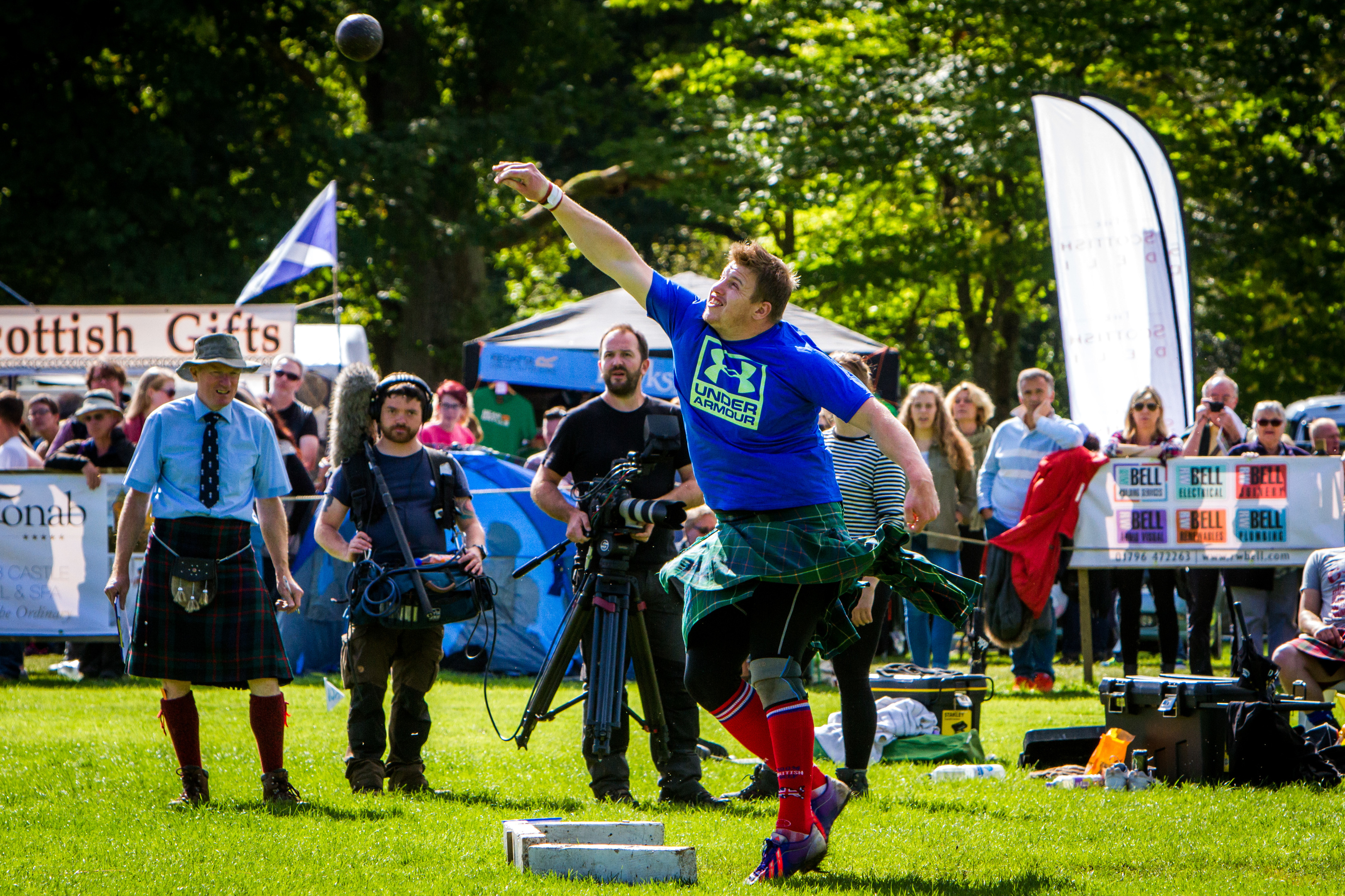 Lorne Colthart (from Blair Atholl) during the shot putt.