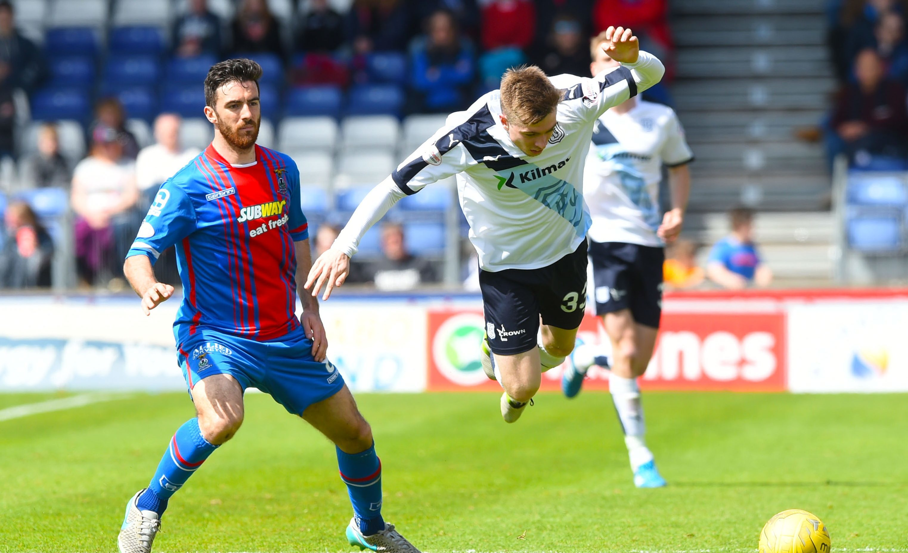 Action from the game between the two sides in Inverness in May.