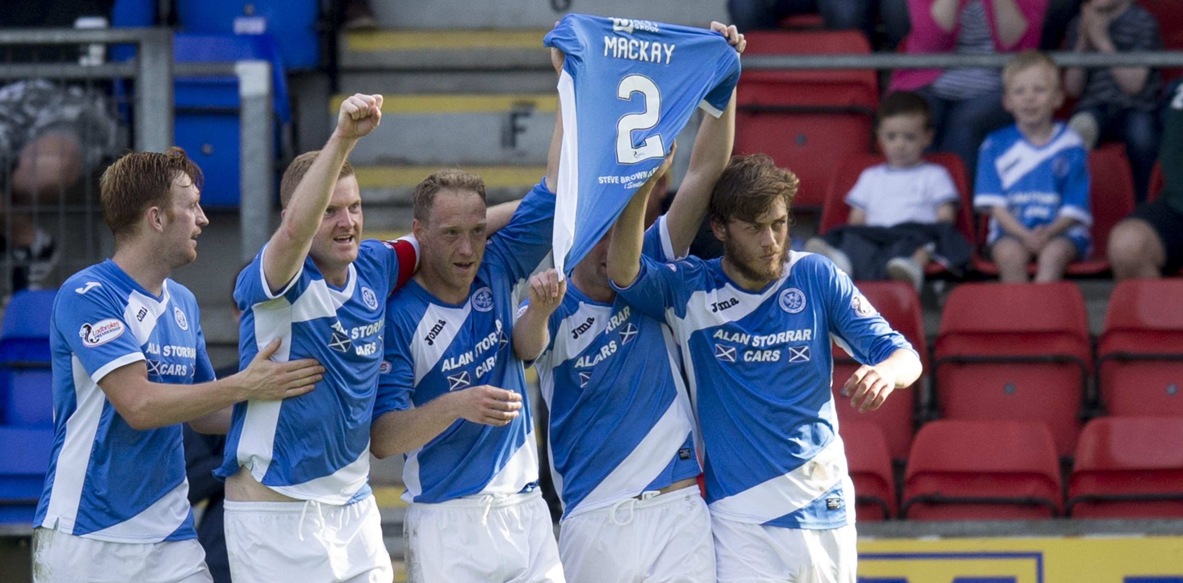 St Johnstone celebrate their weekend winner.