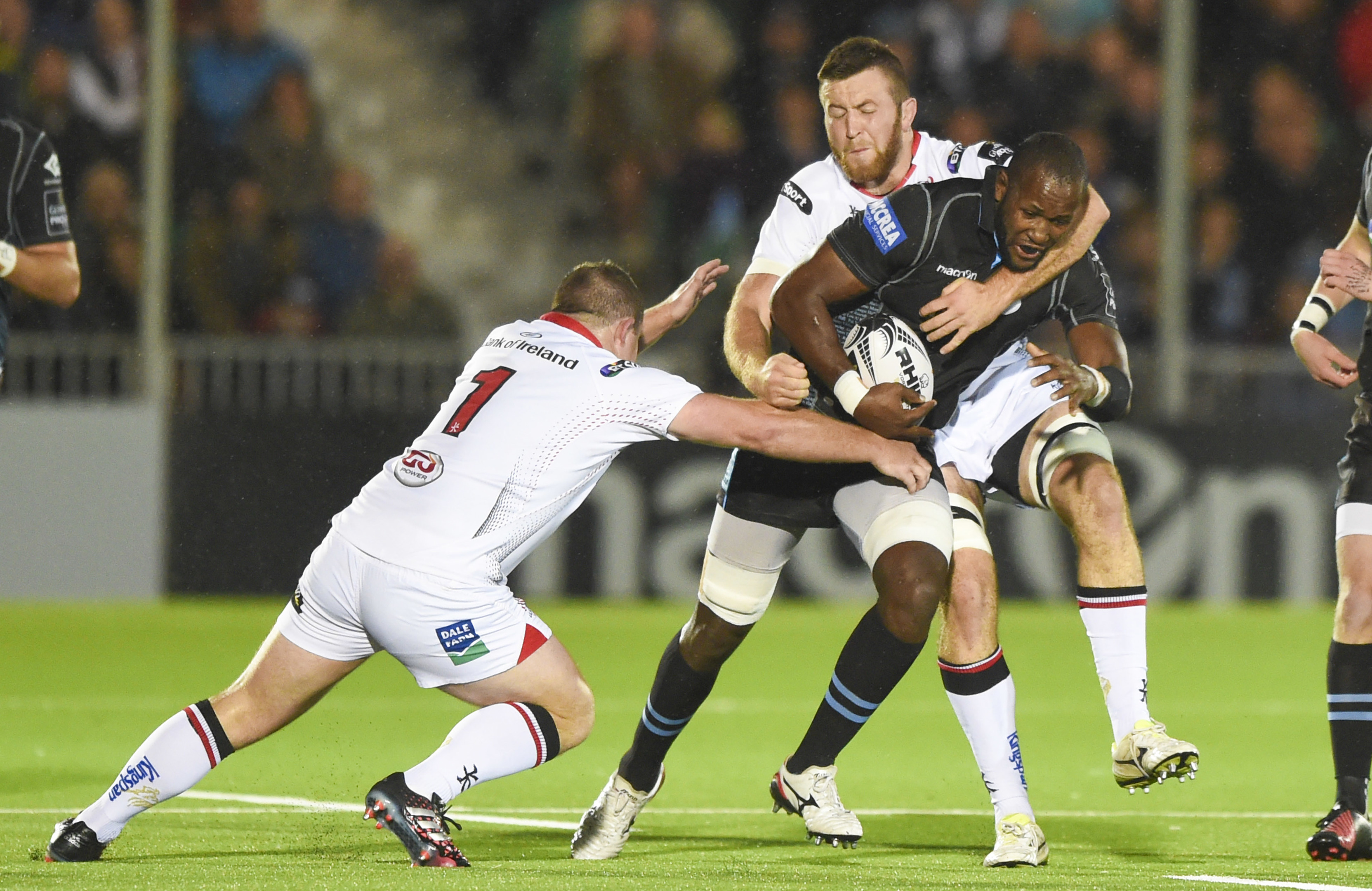 Glasgow Warriors' Tijuee Uanivi on the charge against Ulster at Scotstoun.