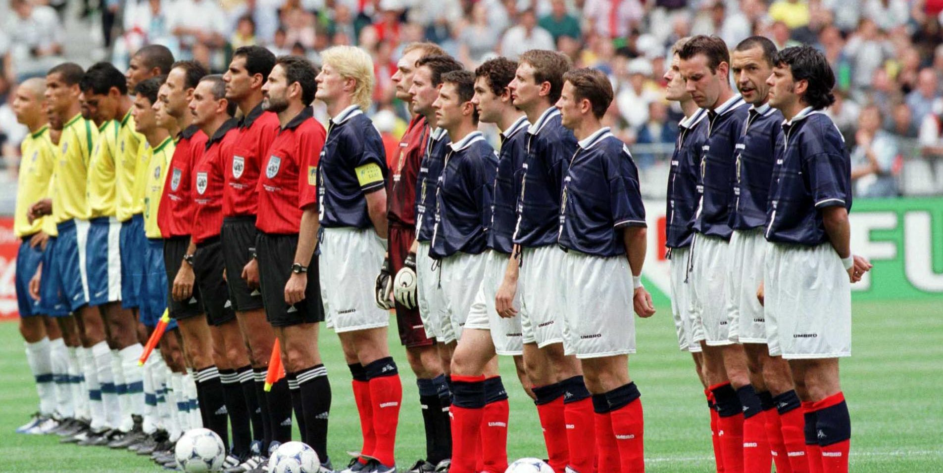 Scotland and Brazil line up before they play in the opening game of the 1998 World Cup - the last time Scotland qualified for a major finals