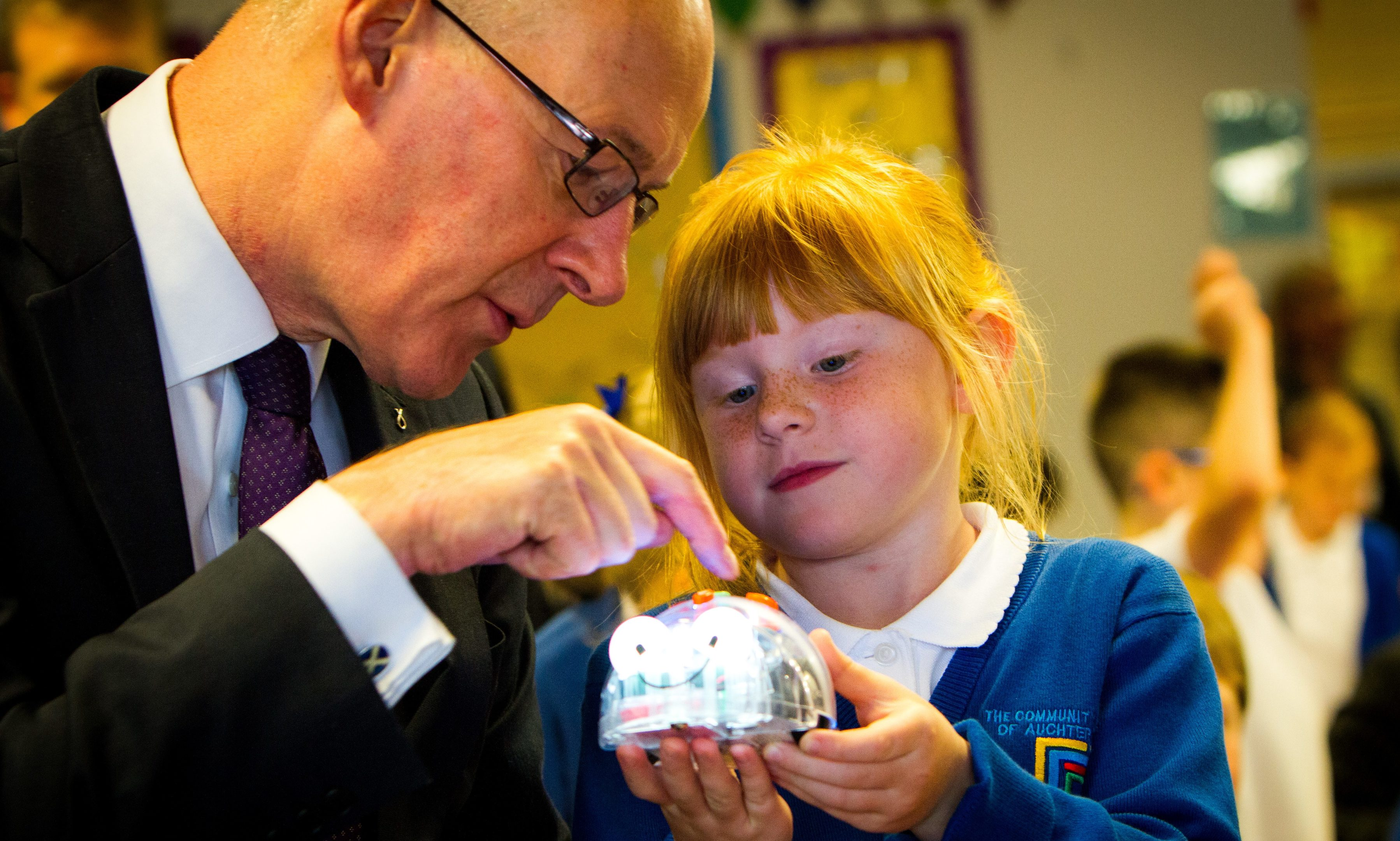 Deputy First Minister John Swinney at the Community School of Auchterarder to launch new national computing programme.