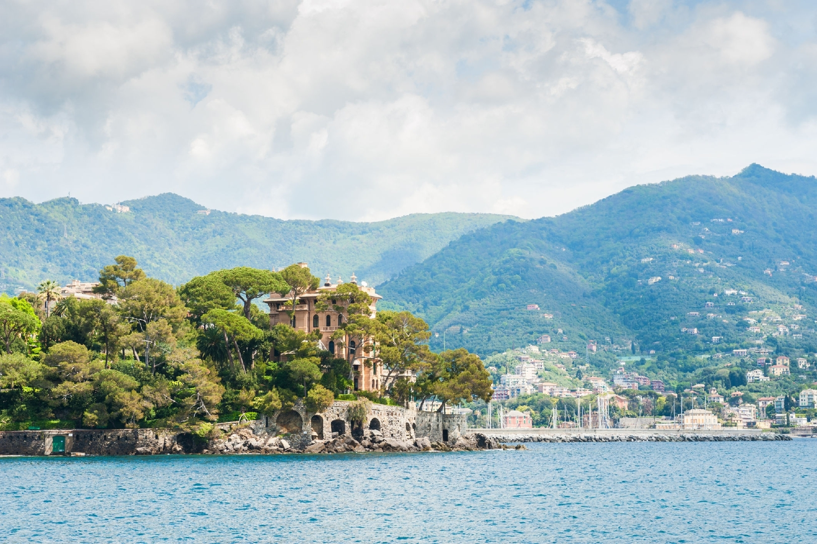 The beautiful view of the sea coast and mountains in Rapallo, Ligurian coast, Italy.