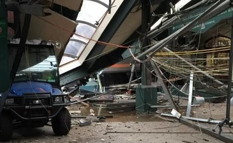 This Thursday, Sept. 29, 2016 photo provided by a passenger who was on the train when it crashed shows wreckage at the Hoboken, N.J. rail station.