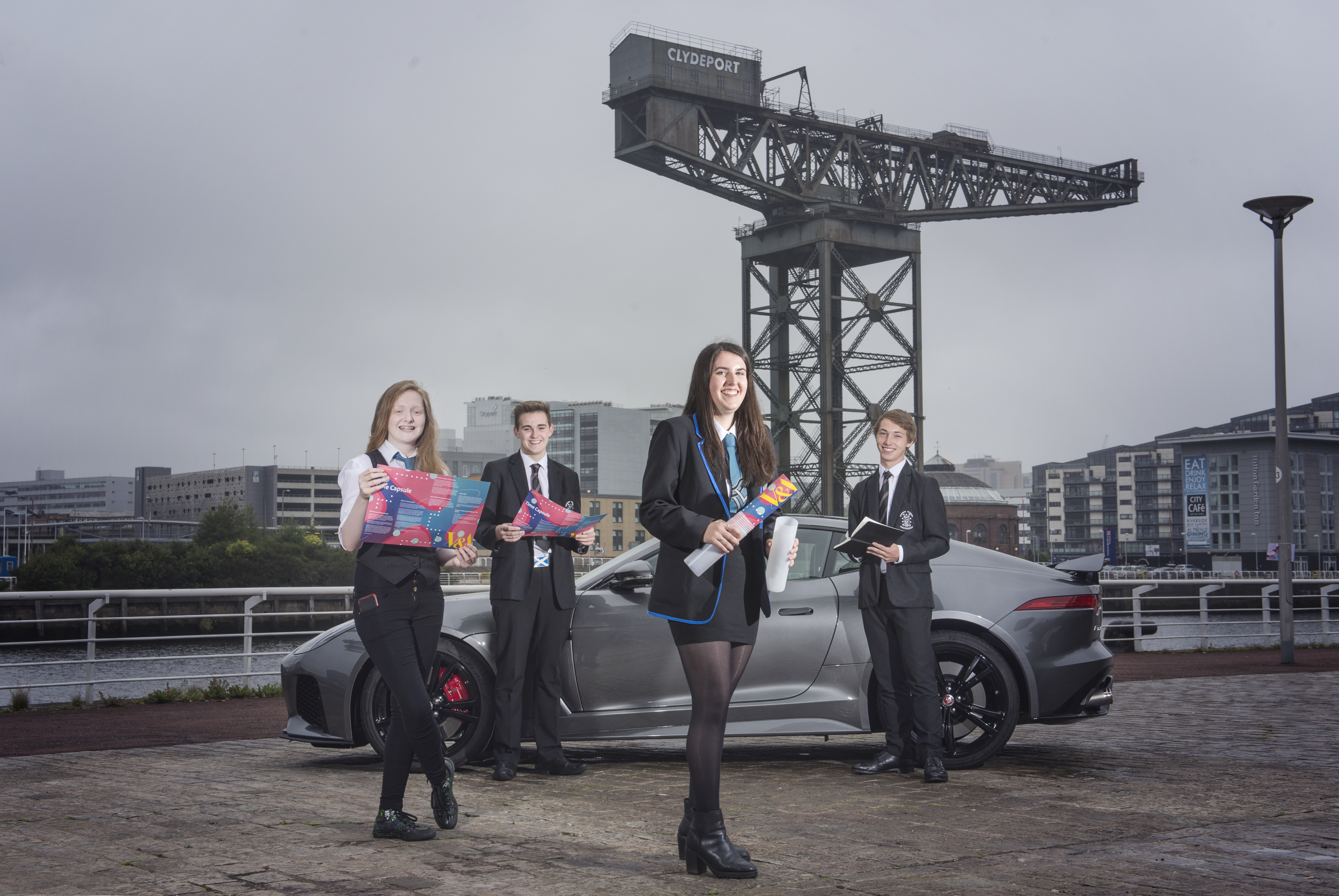 Students (l-r) Phoebe Simpson of Woodmill High School ,Hamish Parkes of Dumfries Academy, Cammie Ross, Woodmill High School and Matthew McBride, Dumfries Academy.