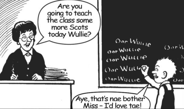 Oor Wullie does his bit for Scots language