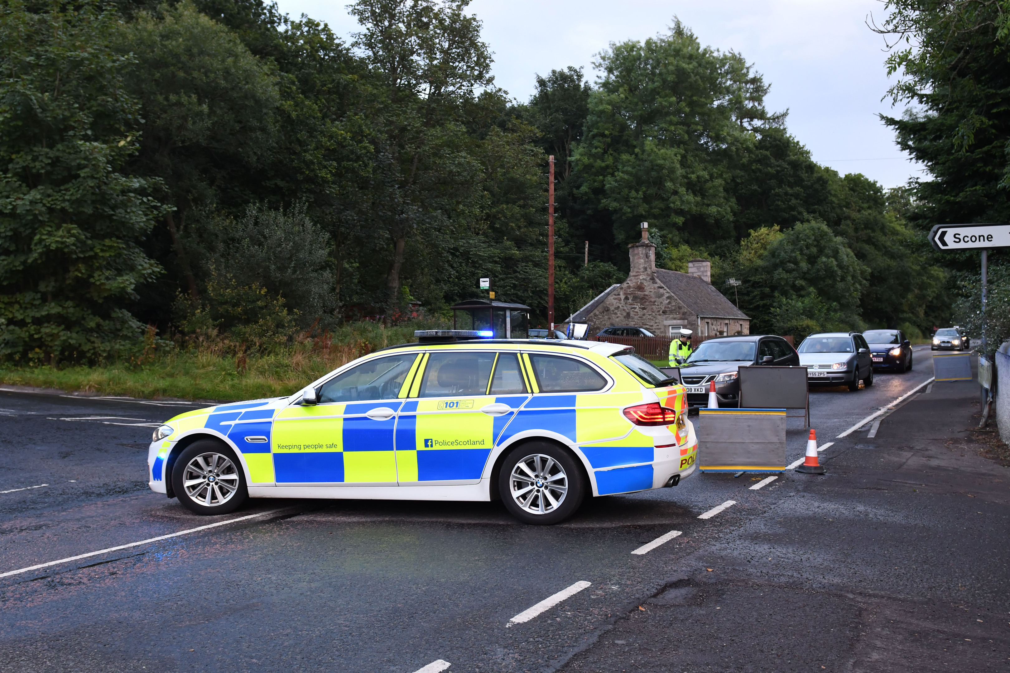 Police at scene of Sunday's crash on the A93 at Old Scone.