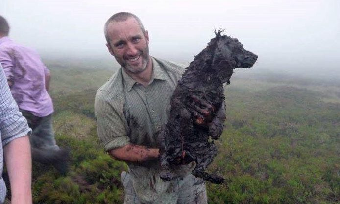 Gamekeeper Jonny found Jazz tired, wet and caked in mud — but alive.