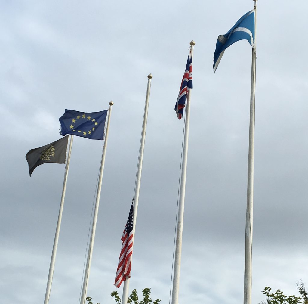 USA flaf flying at half-mast next to Old Course Hotel