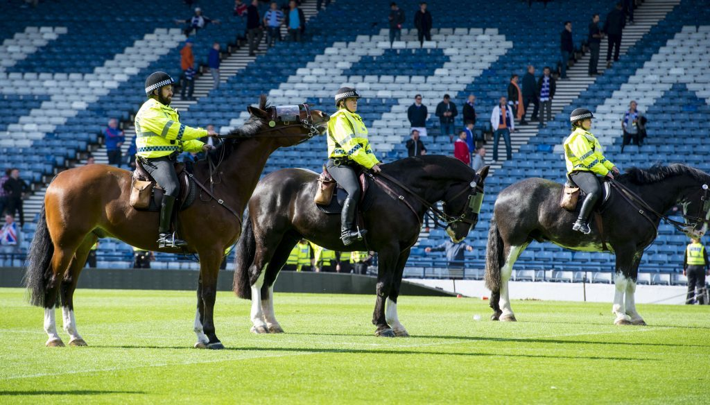 Police horses on the pitch