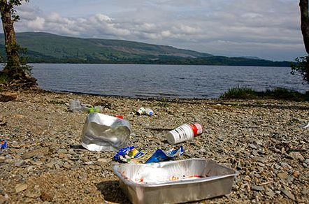 Litter on the shore of Loch Lomond where wild camping has been restricted by bye laws.