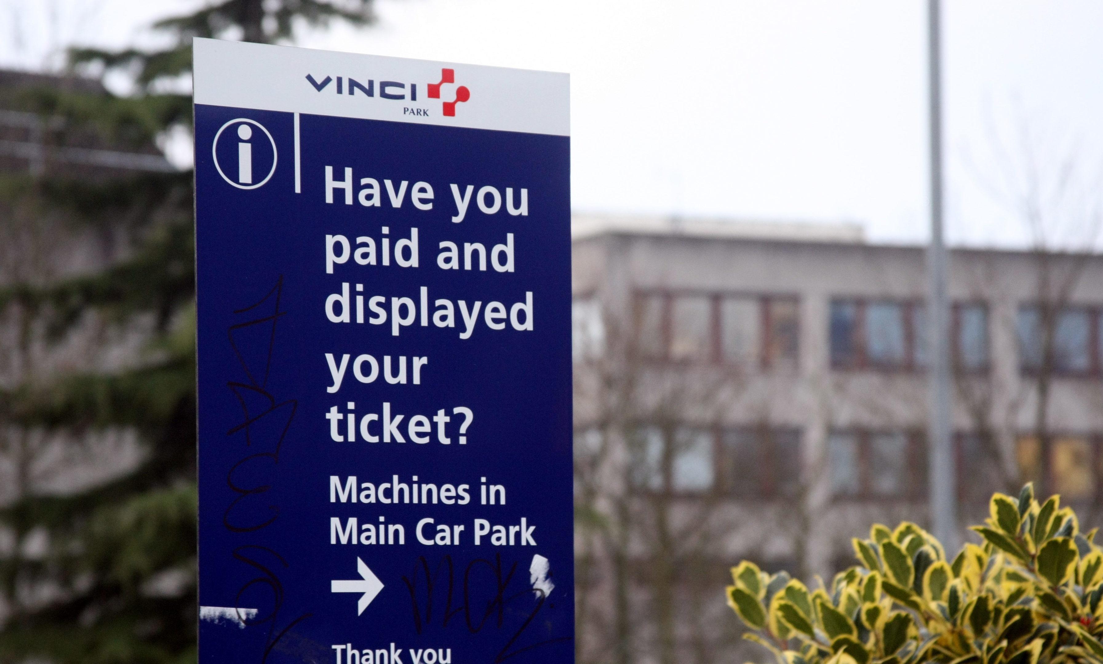 Parking signs at Ninewells Hospital.
