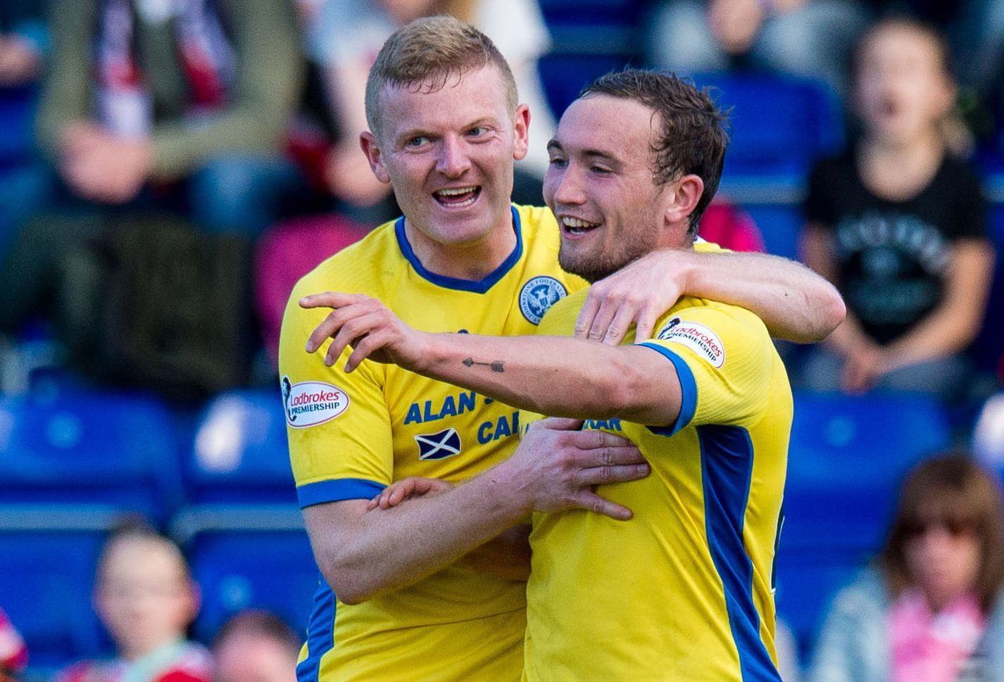 Chris Kane celebrates his goal with Brian Easton.