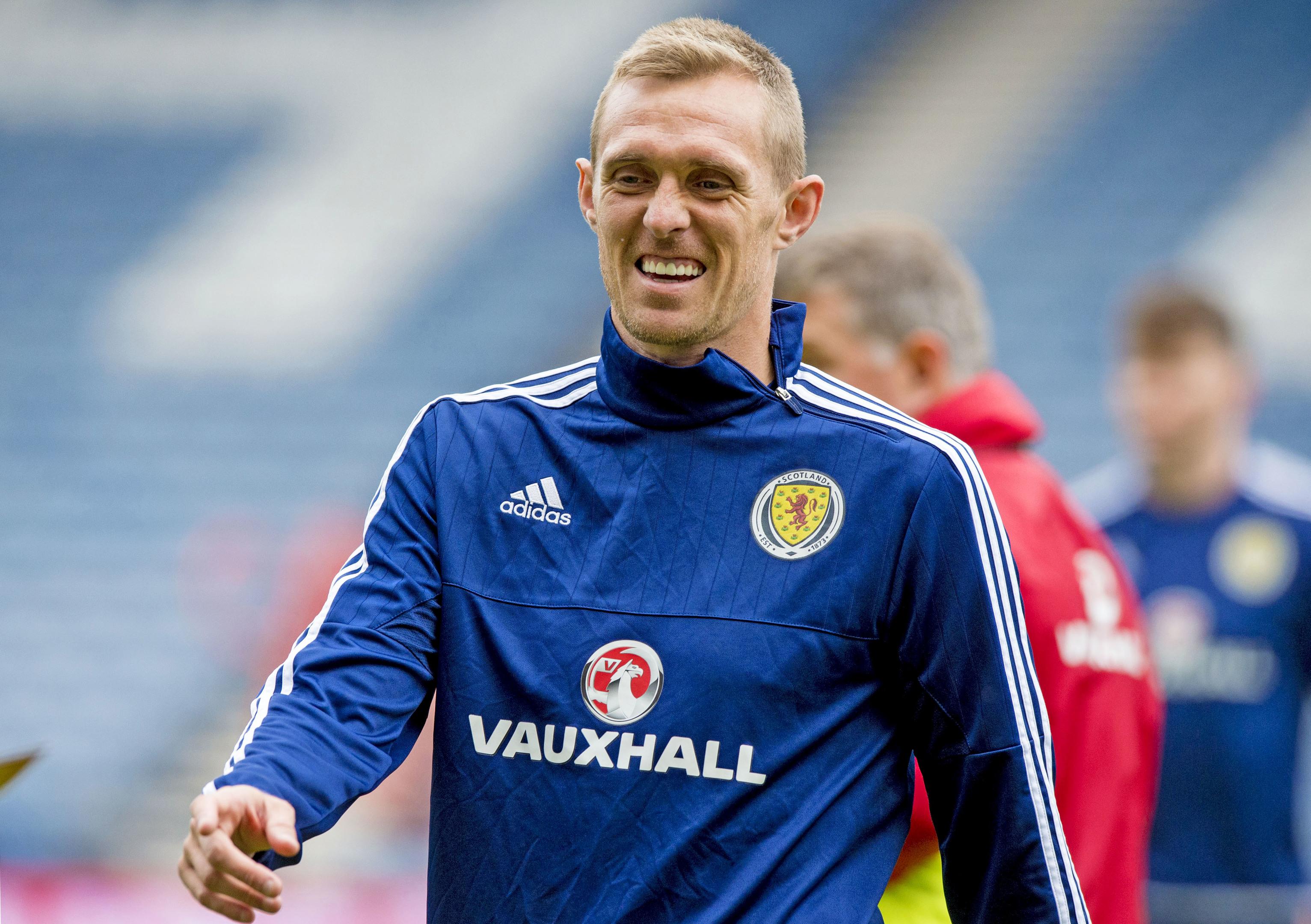 Scotland captain Darren Fletcher trains at Hampden before the Lithuania match.