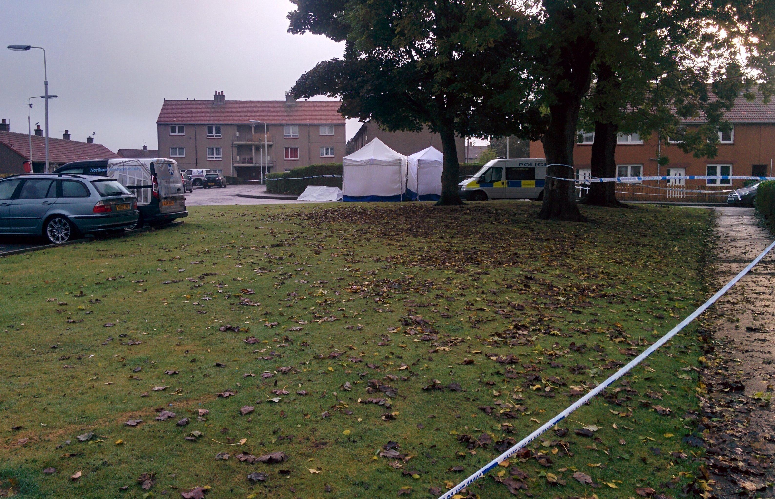 The scene in Farne Court on Sunday morning.