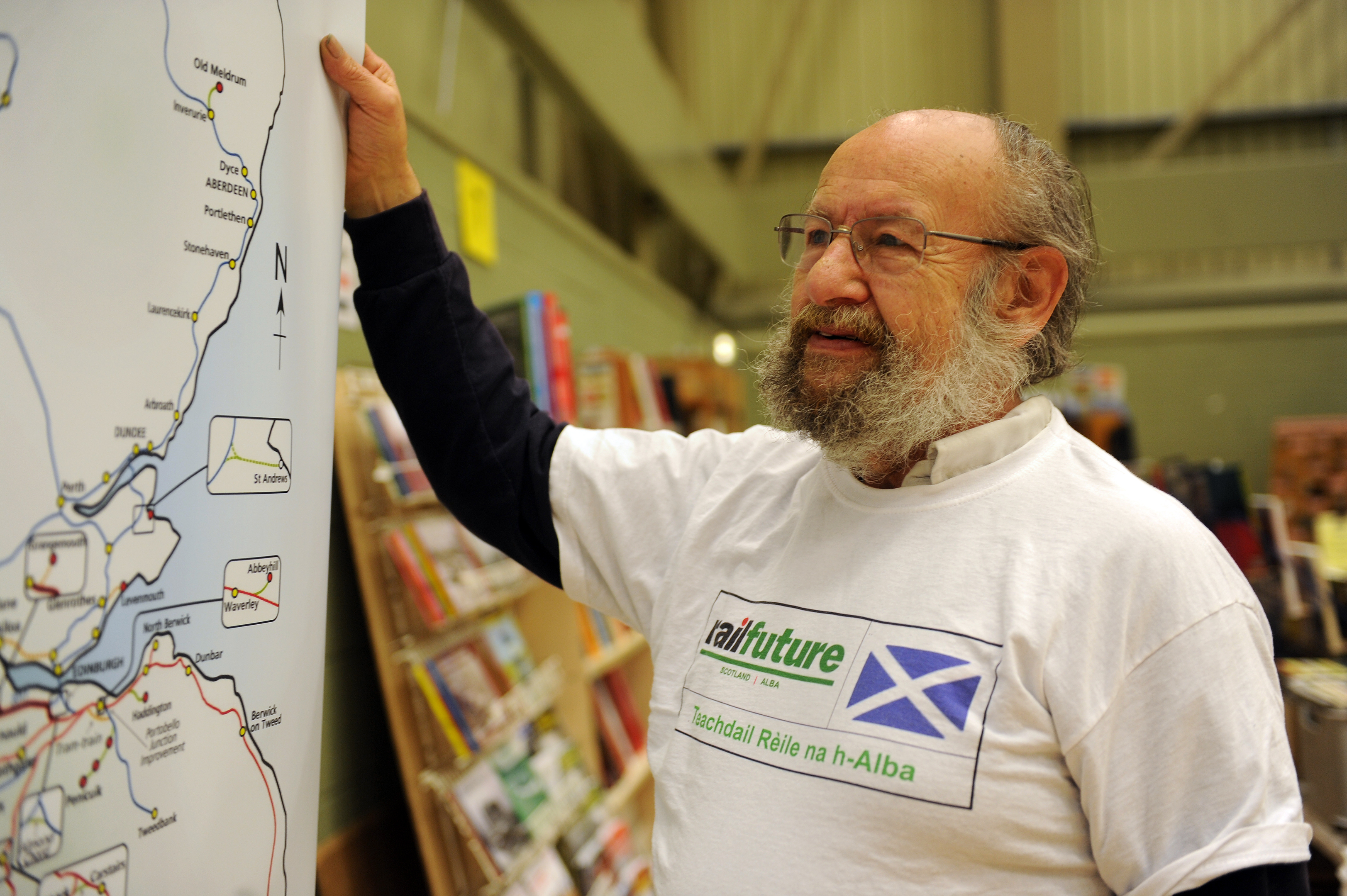 Roderick McDogall, vice Chairman of Railfuture (Scotland) with the plans on Saturday
