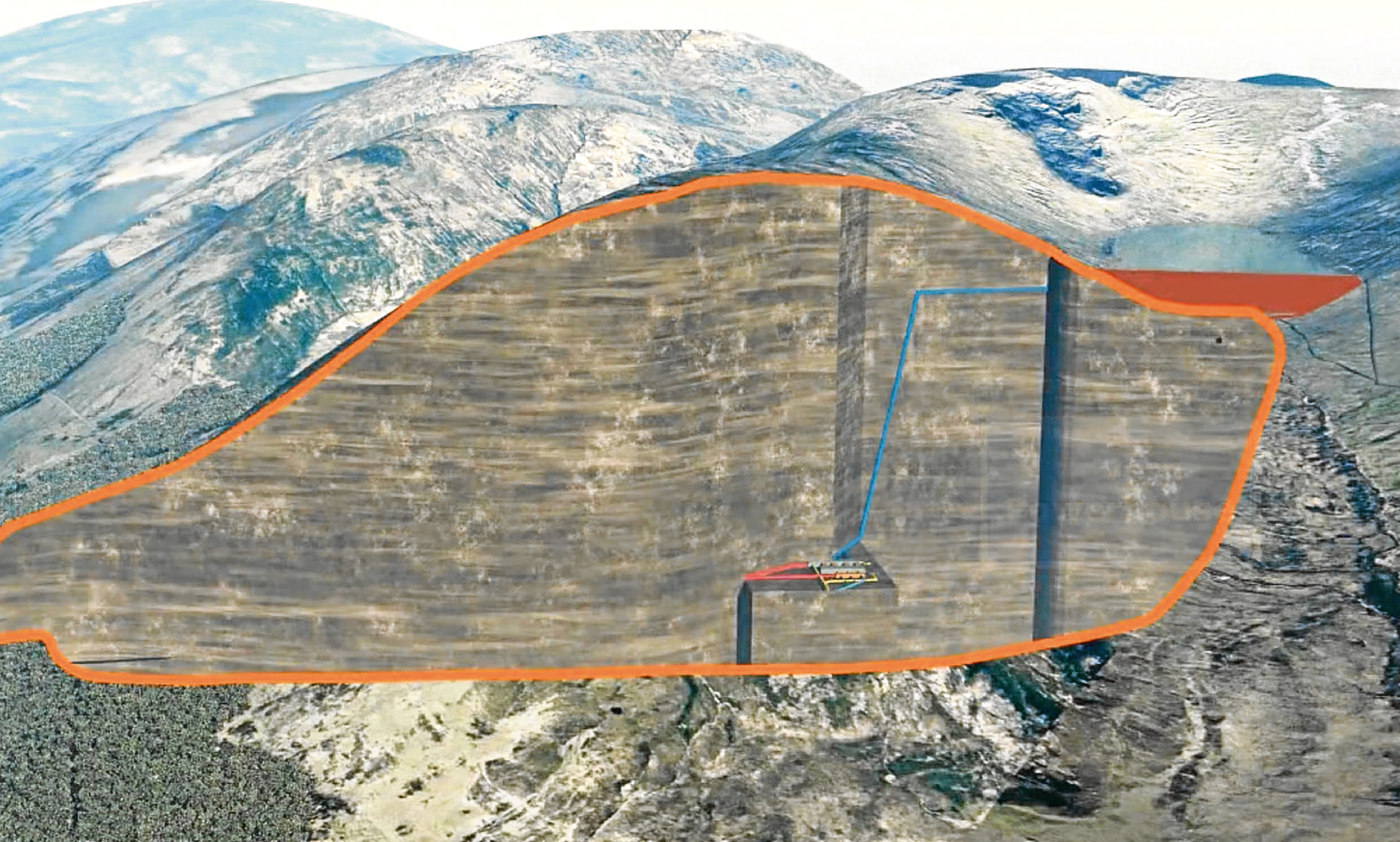 A cross section of SSEs Coire Glas pumped hydro storage development showing the scheme's workings extending from a planned new reservoir.